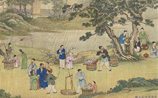 图为清 丁观鹏《太平春市图》局部,台北国立故宫博物院藏。(公有领域)