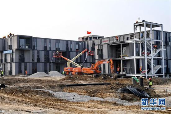 这是雄安市民服务中心施工现场(3月27日无人机拍摄)。新华社记者 朱旭东 摄