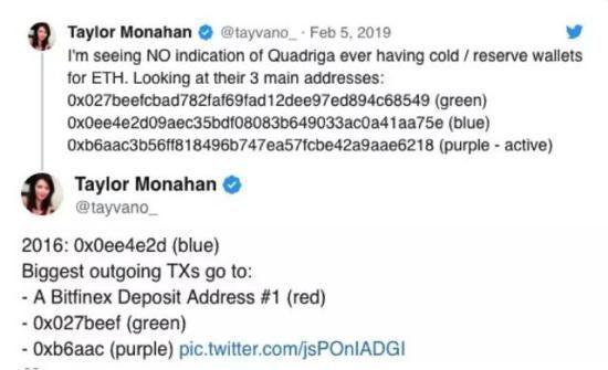 Monahan发表对QuadrigaCX持有以太币冷钱包的质疑 ,来源:Twitter@Tayvano_